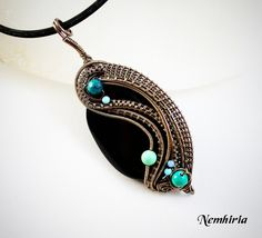 Pendant 'Styx' SOLD Second of the serie: The Five rivers of Hades Lethe river: Enameled copper wire, onyx main bead, turquoises, chrysocolla little beads. Visit my shop: