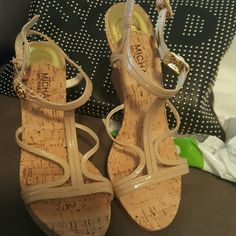 Micheal Korea nude sandals Corked heeled MK sandals Michael Kors Shoes Sandals