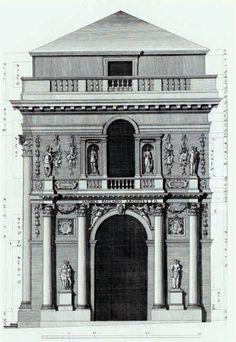 Andrea Palladio: Palazzo del Capitaniato, designed in 1565, partially built between 1571-72, Vicenza, Italy; side elevation by Ottavio Bertotti Scamozzi, 1776