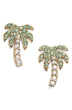 These soft green-and-white sparkling palm tree earrings are the perfect vacation accessory.