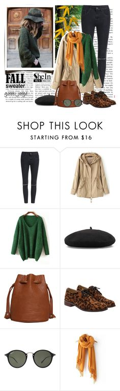 """""""Green Sweater- Shein.com"""" by goreti ❤ liked on Polyvore featuring Ray-Ban"""