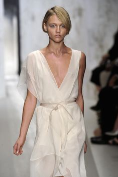 Donna Karan white sheer asymmetrical dress #minimalist #fashion #style