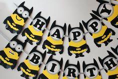Batman minion birthday banner Batman birthday party decorations Batman banner Super Hero minion birthday party banner Batman superhero party