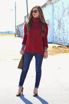 Great dark red chunky knit turtle neck sweater!  Styled so cute with another fitted lightweight striped turtleneck, jeans and heels!  Casual chic!