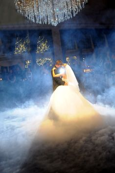 My brother (our DJ and MC) is bringing his fog machine to the wedding so we can do this for our first dance!