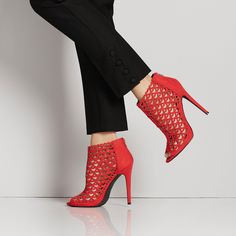 """People say """"shoe love is true love"""" and we can't agree more! The Monica lazered bootie is perfect for your Valentine's day dinner. #ShoeDazzle"""