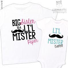 customized childrens shirts, mustache siblings, matching t-shirt set