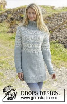 """Eir - Knitted DROPS jumper with Norwegian pattern and round yoke, worked top down in """"Nepal"""". Size: S - XXXL. - Free pattern by DROPS Design Jumper Knitting Pattern, Knitting Patterns Free, Knit Patterns, Free Knitting, Free Pattern, Drops Design, Drops Patterns, Fair Isle Knitting, Work Tops"""