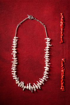 White Coral & Metal Necklace by Mamsthings on Etsy, €22.00