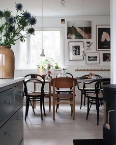 Kitchen table with gallery wall