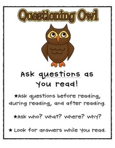 Reading Comprehension Strategies Poster--this poster is a great tool that will help students think about what questions to ask while reading.