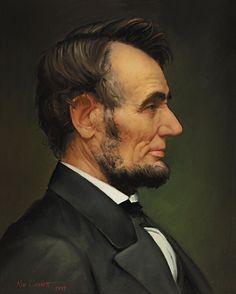 Abe- penny portrait by Ken Corbett