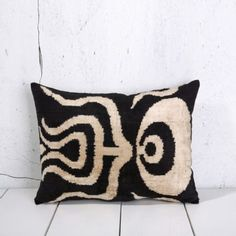 Soft Hand Woven - Silk Velvet Ikat Pillow Cover-Velvet ikat Pillow Cover