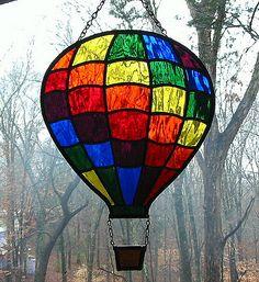 Rainbow Stained Glass Hot Air Balloon Suncatcher   Flickr - Photo Sharing!