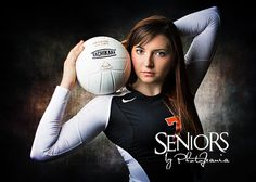 Volleyball senior picture ideas for girls. Dramatic volleyball senior picture pose in the studio. #volleyballseniorpictureideas #seniorsbyphotojeania