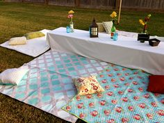 DIY Painted Blankets from Canvas Drop Clothes