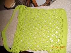 My latest crochete project - crochete string bag in hot green