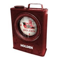 Uniquely Designed Holden Jerry Can Desk Clock. Rustic Red Colour With Holden Brand Clock Face. Quirky Gift For Revheads! Comes Gift Boxed. Home Clock, Desk Clock, Look Body, Man Shed, Hiking Gifts, Jerry Can, Gift Box Packaging, Man Cave Bar, Perfect Gift For Him
