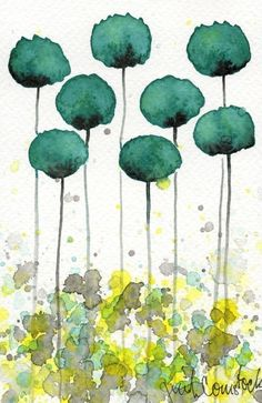 SALE - Buy 2 Get 1 FREE -- Watercolor Painting: Watercolor Flowers -- Art Print -- Take Me With You -- Aqua Flowers -- 4x6. $8.00, via Etsy.