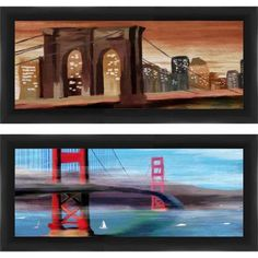 Framed Graphic Colorful Bridges Wall Art, Set of 2, Multicolor