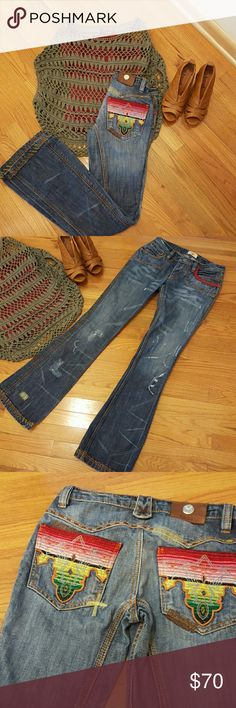 One of a kind Antik Jeans if you like something that no one has. You will not be disappointed in these. A work of art. Nothing was left out of these Jeans. Antik Batik Jeans Boot Cut