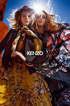 Sasha Pivovarova and Lily Donaldson by Mario Sorrenti for Kenzo F/W campaign. Sasha Pivovarova, Lily Donaldson, Mario Sorrenti, Folk Fashion, Fashion Brand, High Fashion, Kenzo, Art Partner, Best Photo Poses