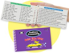 """Super Duper's Auditory Processing Quick Take Along fits in your pocket and includes 28 different activities that target discrimination of sounds, following directions, memory for words/sentences, rhyming, syllable awareness, sound blending, sound deletion/addition, sound manipulation, and """"Wh"""" questions."""