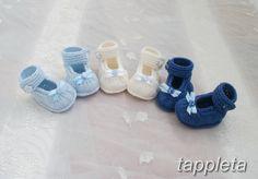 Пинетки туфельки для мальчика 0-9 месяцев, новорожденный, вязанная обувь, голубой, темно-синий by tappleta on Etsy
