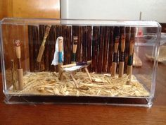 """Oboe Reed Nativity, made from all reed making/reed materials. Just look at the """"hay""""...im crying inside..."""