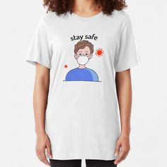 """""""Please saty away from me to protect ourselves """" T-shirt by Ennoukra Cotton Tote Bags, Chiffon Tops, Classic T Shirts, Shirt Dress, T Shirts For Women, Mens Tops, Stuff To Buy, Fashion, Moda"""