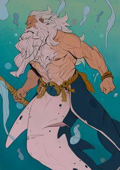 Merman by Nesskain hks (France) Character Concept, Character Art, Concept Art, Fantasy Kunst, Fantasy Art, Fantasy Creatures, Mythical Creatures, Mermaids And Mermen, Merman