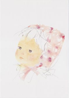 A girl in a cotton hood (specially designed against fire that is historically used in Japan during the World War II) by Chihiro Iwasaki