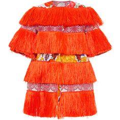 Stella Jean Fresatore Jacket ($1,195) ❤ liked on Polyvore featuring outerwear, jackets, flower print jacket, fringe jacket, red jacket, floral print jacket and short sleeve jacket