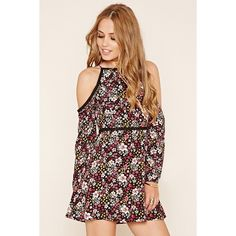Forever 21 Women's  Floral Fit and Flare Dress ($23) ❤ liked on Polyvore featuring dresses, pink dress, pink floral dress, floral fit and flare dress, print dress and floral pattern dress