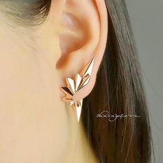 Rivet earring jacket set  Leaf ear cuff  Rose gold von shiningstore