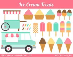 Ice Cream Treats Clipart - Digital Clip Art Graphics for Personal or Commercial Use