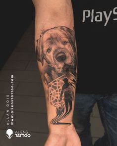 It's amazing how attached we become to our pets. What better way to remember our creature companions than by immortalising them on our skin. Amazing dog portrait for men on arm by Allan Gois at Aliens Tattoo India. If you wish to get such tattoo, don't forget to follow us, like this pin and visit our website. First Tattoo, Tattoo You, Unique Animal Tattoos, Dog Portrait Tattoo, Hyper Realistic Tattoo, Tattoo Prices, Alien Tattoo, Religious Tattoos, Tattoo Equipment