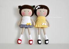 "My Teeny-Tiny Dolls® - 11"" Handmade Fashion Dolls in nautical themed tennis dresses"