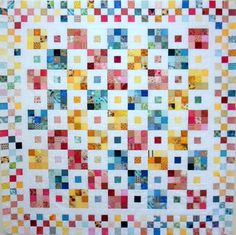 """""""Just Squares"""" The two inch squares really accumulate in my scraps!  I picked these three colors to work with because I love the way to look together."""