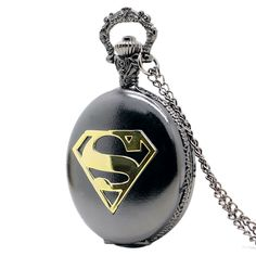 Cheap pocket watch blue, Buy Quality pocket watch directly from China fob watch Suppliers: New Arrival Cool Black Case Superman Theme Pocket Watch Blue Dial Quartz Fob Watch With Chain Necklace Gift Quartz Pocket Watch, Gold Pocket Watch, Pocket Watch Necklace, Pocket Watch Antique, Quartz Watch, Gold Watch, Comic Superman, Superman Logo, Superman Symbol