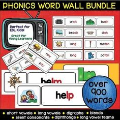 Phonics Word Wall for ESL and Young Learners  Phonics Words included: CVC , CVCE, Digraphs - (ch, sh, ck, tch, dge, ng, th),Final Blends T, Final Blends S, Final Blends R ,Final Blends N &M, Final Blends L,Beginning Blends L, Beginning Blends R, Beginning Blends S,Bossy R (ar, er, ir, or, ur),Word Endings -re (-are, -ere, ire, -ore, -ure),Double Consonant Endings ,Trigraphs, Long Vowel Teams (long a, long o, long e, long i, long u), Diphthongs ,Silent Consonants
