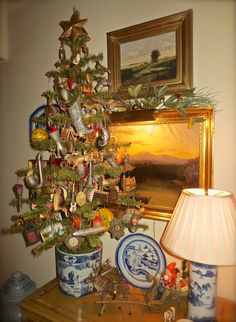 Feather tree in the living room hung with antique German Dresden ornaments, collection of Benjamin Bradley 2015 German Christmas Ornaments, Tabletop Christmas Tree, Prim Christmas, Antique Christmas, Christmas Past, Christmas Images, Country Christmas, Christmas Tree Ornaments, White Christmas