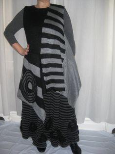 Lagenlook Asymmetrical blackgray sleeveless by KnittingbyScarlatto, $180.00
