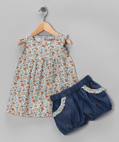 Another great find on #zulily! Orange & Indigo Liberty Top & Denim Bloomers - Infant & Toddler by Petit Confection #zulilyfinds