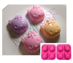SET OF TWO 2 Polymerose 4 Cavity Silicone KITTY candy chocolates mold >>> Want additional info? Click on the image.
