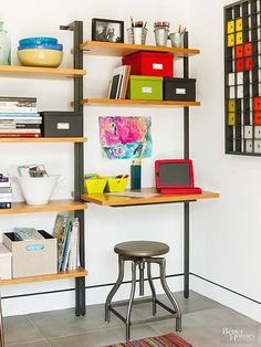Pieces that can work in a variety of ways are a great fit for small-space storage. Home offices, for example, may be difficult to create out of limited square footage, but strategically placed bookshelves may offer practical and beautiful space.