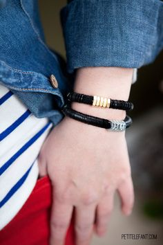 DIY hardware bracelet tutorial: Making your own DIY bracelets is fast and easy with this tutorial using sequins and hex nut hardware accents from hardware.