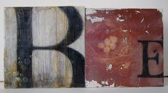 B - an original encaustic collage painting via Etsy.