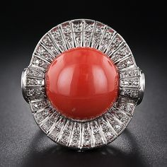 Vintage Coral and Diamond Cocktail Ring -