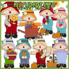 Sweet Scarecrows Clip Art - $1.00 : Welcome to AllClipART.info!, We offer High Quality COMMERCIAL USE Graphics for Teachers, Crafters & Scrapbookers. Clip Art Graphics, Printable Paper Crafts, CU/PU Kits, Digital Stamps, Digital Papers & Free Downloads! Available in downloadable jpg & png formats.